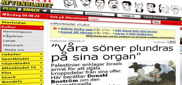 Swedish journalist: Israel stole the organs of more than a 1000 Palestinians